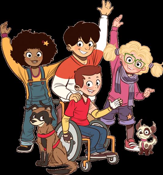 Vier winkende Kinder und zwei Hunde