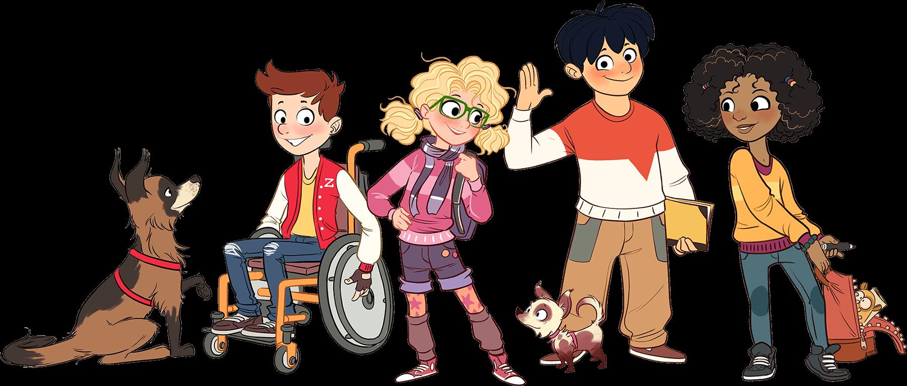 Vier Kinder und zwei Hunde